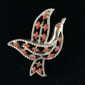 Jewelry - Vintage 1970s Goldtone & Coral Bird Brooch